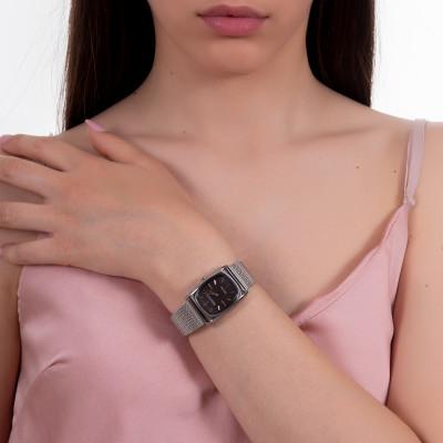 Orologio da polso donna con quadrante rettangolare antracite