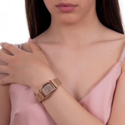 Orologio da polso donna con quadrante rettangolare rosa