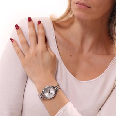 Orologio solo tempo donna silver con bracciale semirigido e Swarovski