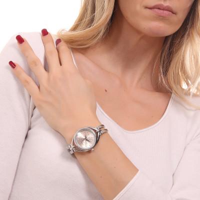 Orologio solo tempo donna silver e rosa con bracciale semirigido e Swarovski