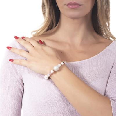 Bracciale placcato oro rosa con perle naturali e barocche