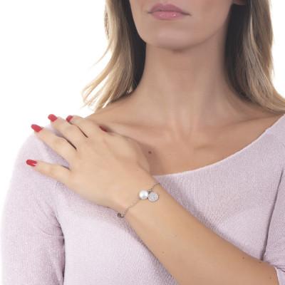Bracciale con perla naturale e charm zirconato