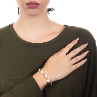 Bracciale con stelle placcate oro rosa e perle naturali