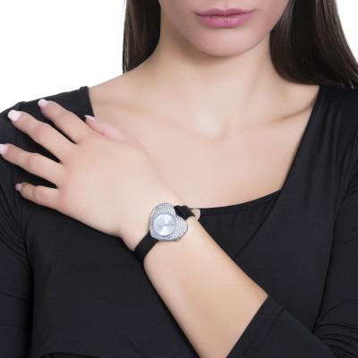 Orologio con quadrante a forma di cuore e cinturino in vera pelle nera