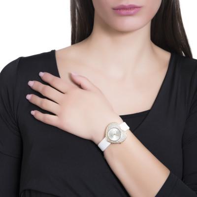 Orologio con quadrante a forma di cuore e cinturino in vera pelle bianca