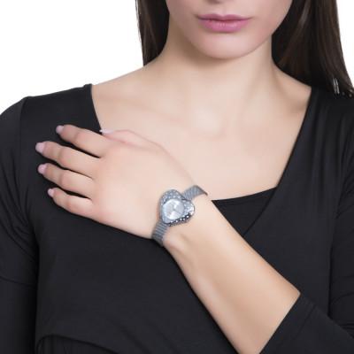 Orologio silver con quadrante a forma di cuore e cristalli Swarovski a pioggia