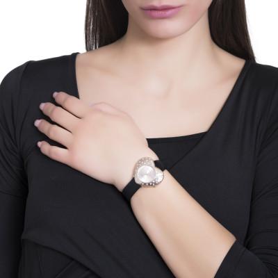 Orologio con quadrante a cuore rose gold e cinturino in pelle nera