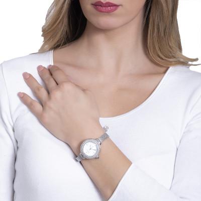 Orologio da polso donna silver con triplice filo di Swarovski e corona cabochon