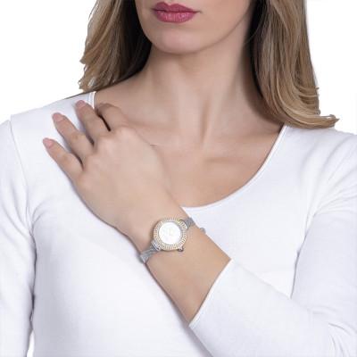 Orologio da polso donna silver, con ghiera dorata in triplice filo di Swarovski e corona cabochon