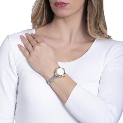 Orologio da polso donna dorato, con ghiera rosata e Swarovski, corona cabochon
