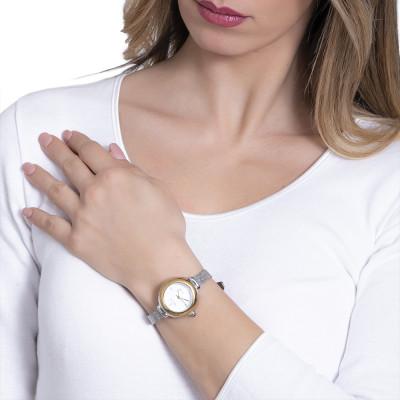 Orologio da polso donna con quadrante dorato e corona cabochon