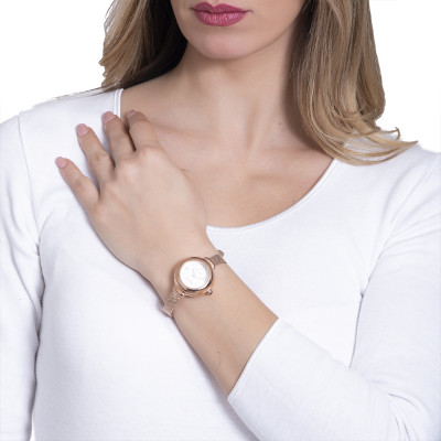 Orologio da polso donna con cinturino in acciaio rosato maglia mesh e corona cabochon
