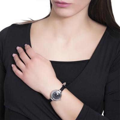 Orologio da polso donna con cinturino in pelle nera e corona cabochon