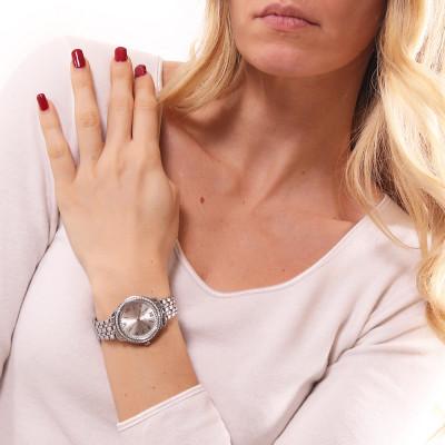 Orologio solo tempo donna silver con doppia ghiera di Swarovski