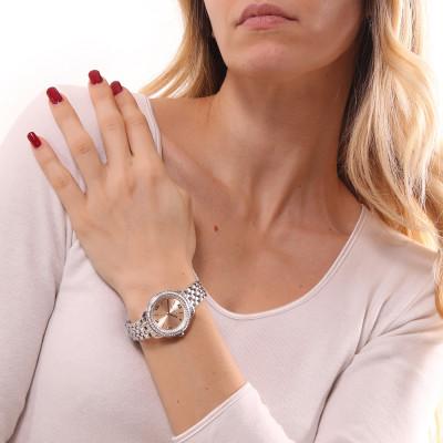 Orologio solo tempo donna silver con quadrante rosa e doppia ghiera di Swarovski