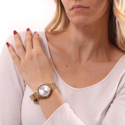 Orologio solo tempo donna gold con quadrante silver e doppia ghiera di Swarovski