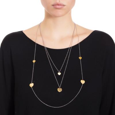 Collana tre fili con cuori placcati oro rosa