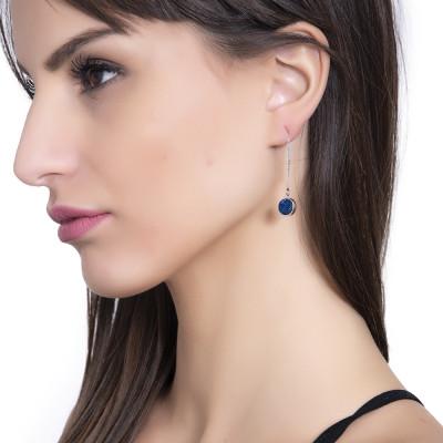 Orecchini pendenti con druzy stone blu