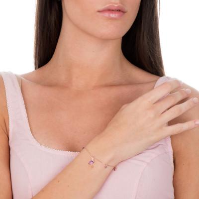 Bracciale placcato oro rosa con fenicottero di zirconi