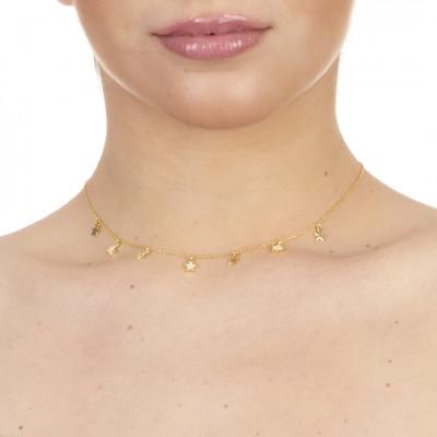 Collana placcata oro giallo con stelle lisce e di zirconi