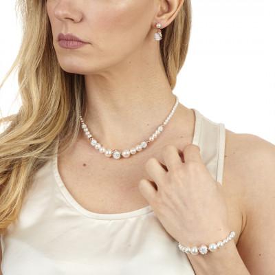 Collana in argento placcato oro rosa con perle e strass