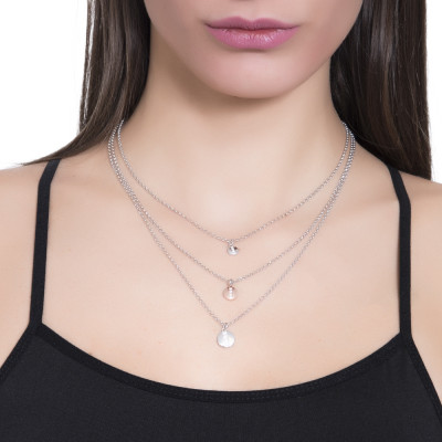 Collana multifilo degradè con elementi bicolor e zirconi