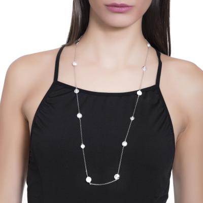 Collana lunga con perle Swarovski ed elementi rodiati circolari con zirconi