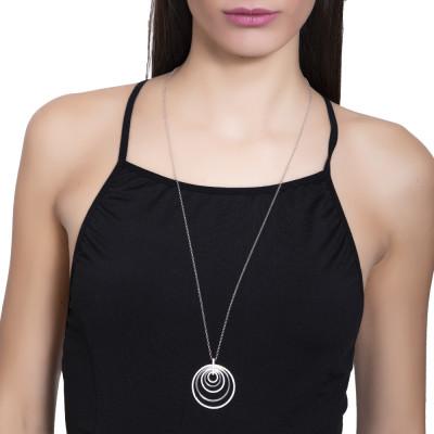 Collana in argento rodiato e pendente concentrico e zirconi