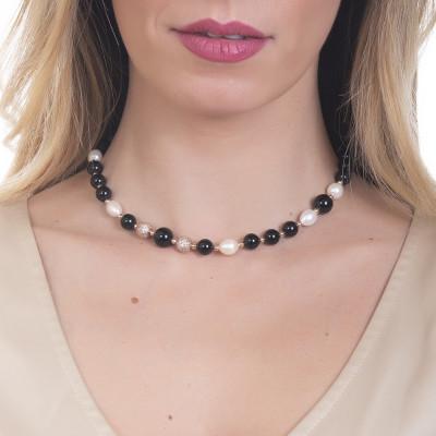 Collana con perle naturali e ossidiana