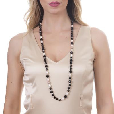 Collana lunga con perle naturali e ossidiana