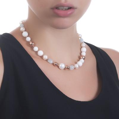 Collana con perle naturali, acqua marina e agata bianca