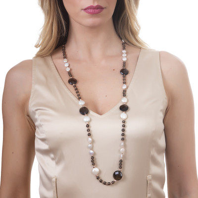 Collana lunga con perle naturali e quarzo fumè