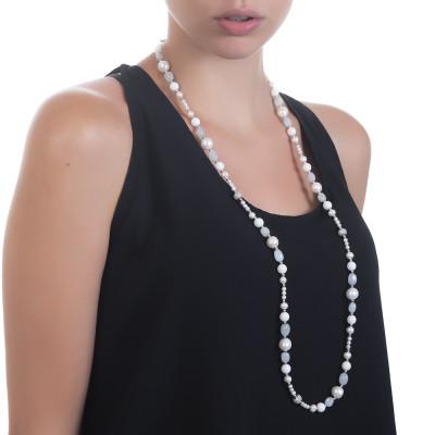 Collana lunga con perle naturali, acquamarina ed agata bianca