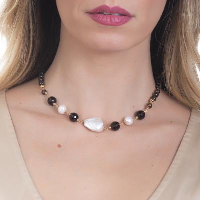 Collana con quarzo fumè e perle naturali