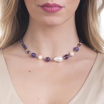 Collana con ametista e perle naturali