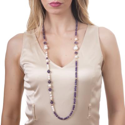 Collana lunga con ametista e perle naturali