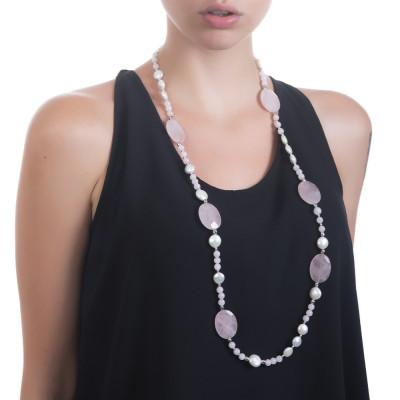 Collana lunga con perle naturali e quarzo rosa sfaccettato