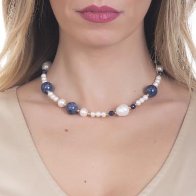 Collana con perle naturali, sodalite e lapislazzuli