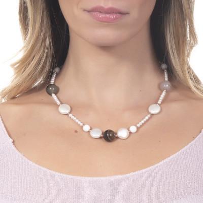 Collana corta con perle naturali, agata mix brown e agata bianca