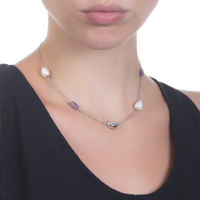 Collana rodiata con perle barocche ed ametista