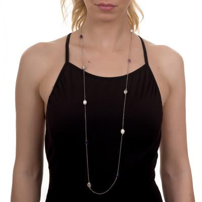 Collana lunga rodiata con perle barocche ed ametista