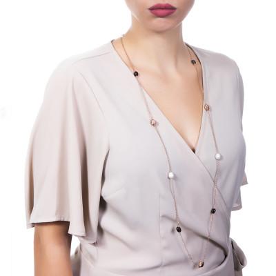 Collana lunga placcata oro rosa con quarzo fumè e perle barocche