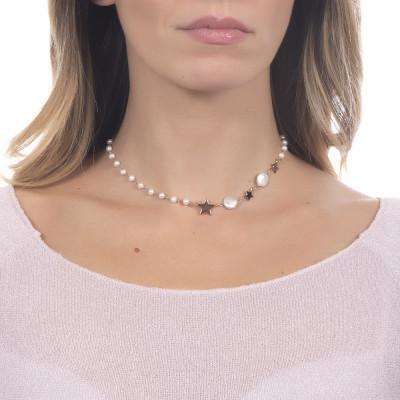 Collana bicolor con perle naturali e stelle