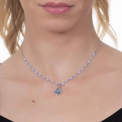 Collana con cristalli celesti e cristallo sky pendente