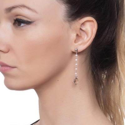 Orecchini con cristalli beige e pendente peach