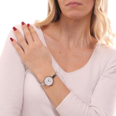 Orologio solo tempo donna silver e rosa con indici in Swarovski