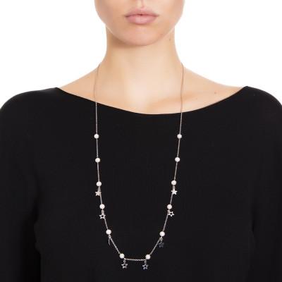 Collana lunga con perle e stelle