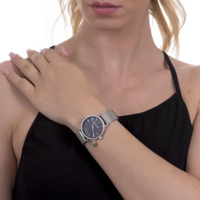 Orologio donna con quadrante nero, cristalli Swarovski, charm laterale e cinturuno maglia mesh silver