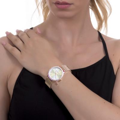 Orologio donna con cristalli Swarovski, charm laterale e cinturuno maglia mesh rosato