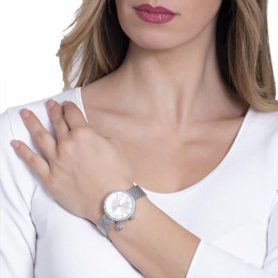 Orologio con quadrante bicolor su due livelli e charm a cuore laterale
